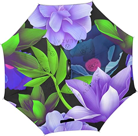 AHOMY Inverted Reverse Umbrella Flowers Tropical Plants Windproof for Car Rain Outdoor
