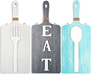 Jetec 3 Pieces Cutting Board Eat Wood Sign Wall Decor Rustic Farmhouse Fork and Spoon Wall Hanging Wooden Kitchen Decor for Home Dining Living Room Bar Cafe Decoration (Modern Color)