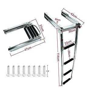 DasMarine 4 Step Ladder Under Platform Sliding Ladder Stainless Steel 316 Spring Loaded Latch with a Carry Handle (4 Step Ladder)