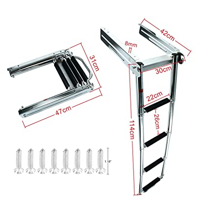 Amazon.com: DasMarine Escalera de 4 escalones bajo ...