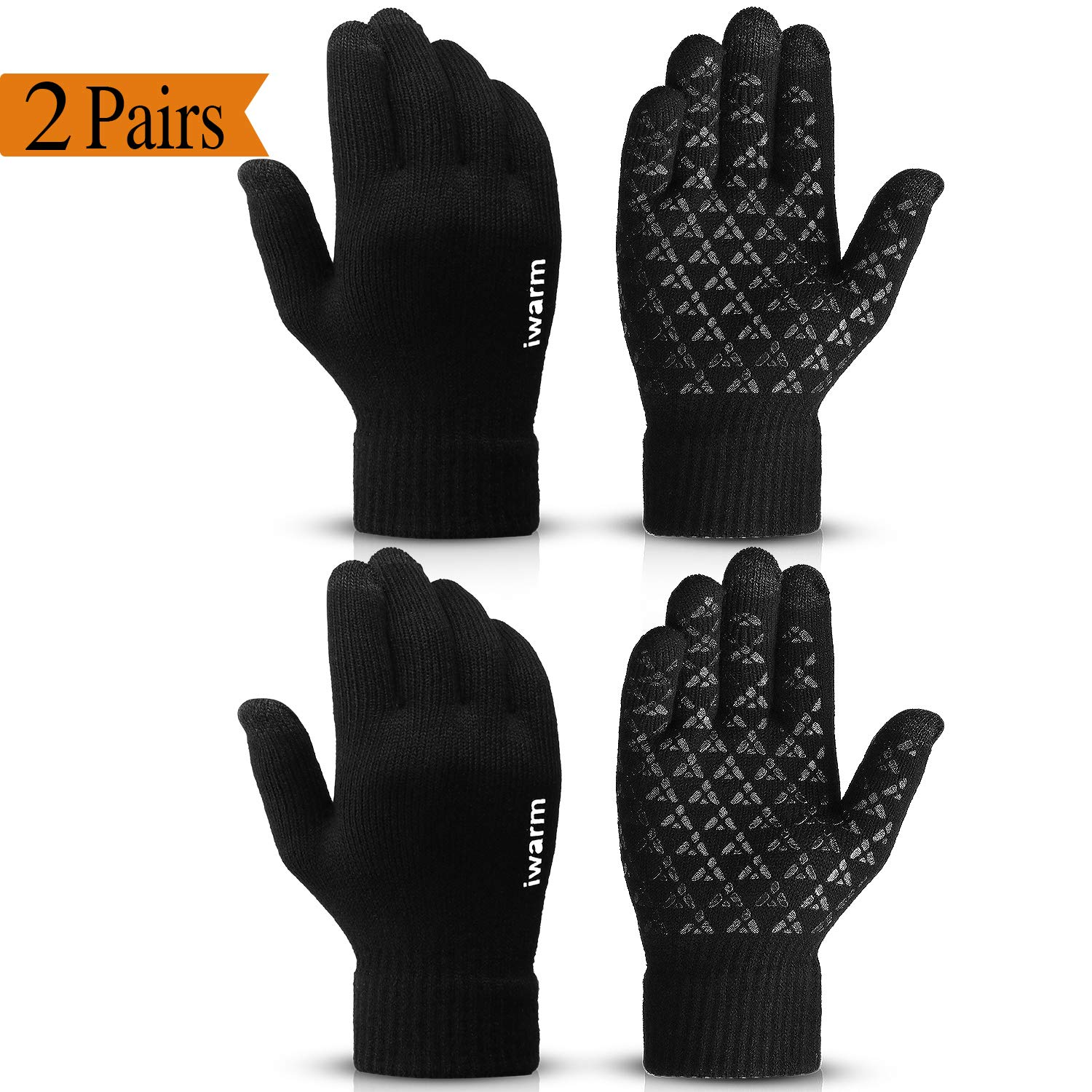 COOYOO Winter Gloves for Women and Men Touchscreen Gloves,Knit Wool, Anti-Slip Silicone Gel - Elastic Cuff - Thermal Soft Wool Lining - Stretchy Material by COOYOO