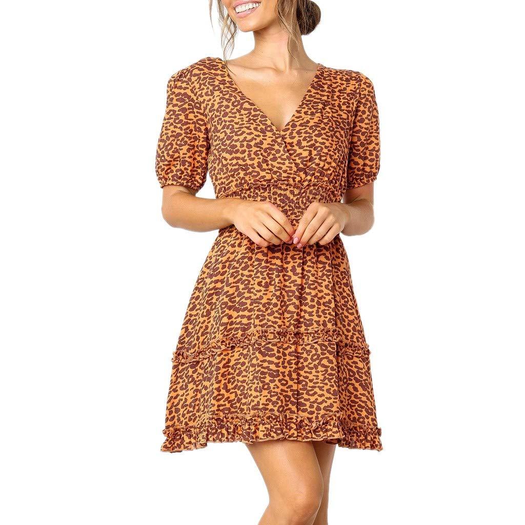 80f8ebb275969b Amazon.com: Alangbudu Women's Dress Sweet & Cute V-Neck Bell Sleeve Shift  Leopard Print Layered Look Dress Mini Dress: Clothing