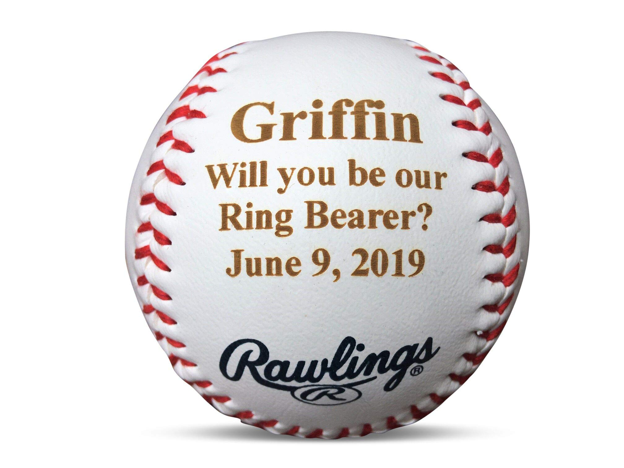 Personalized Ring Bearer Invitation Gift Baseball, Will You Be Our Ring Bearer Proposal Wedding Keepsake, Ring Security, Custom Engraved Baseball by Rincon Arts Engraving