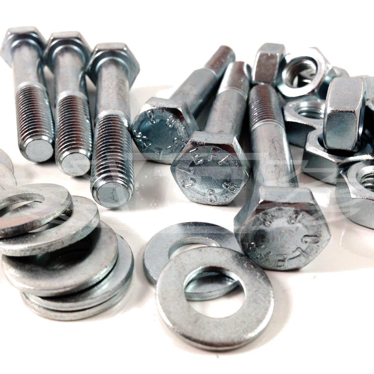 PACK OF 3 x M10 x 120mm PART THREADED HEX HEAD ZINC BOLTS PLUS NUTS & WASHERS Falcon Workshop Supplies Ltd