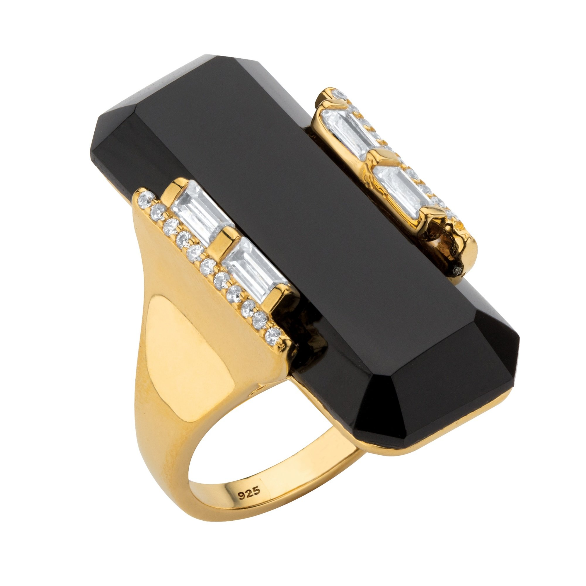 Lux 18K Yellow Gold over Sterling Silver Emerald Cut Natural Black Onyx and Cubic Zirconia Ring