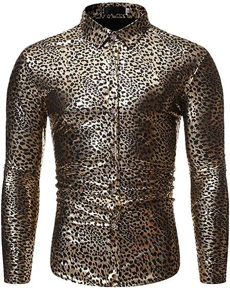 LISILI Camisa De Hombre Leopardo Impresión Manga Larga Ajustado Abotonar Camisa De Vestir para Fiesta/Boda/Espectáculos,Oro,M: Amazon.es: Hogar