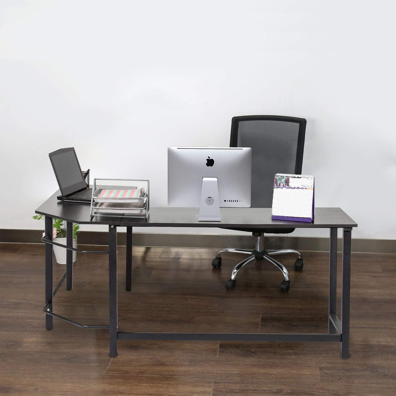 Kinbor Modern L-Shape Corner Office Computer Desk PC Laptop Table Workstation Study Table Home Furniture Black by Kinbor (Image #9)