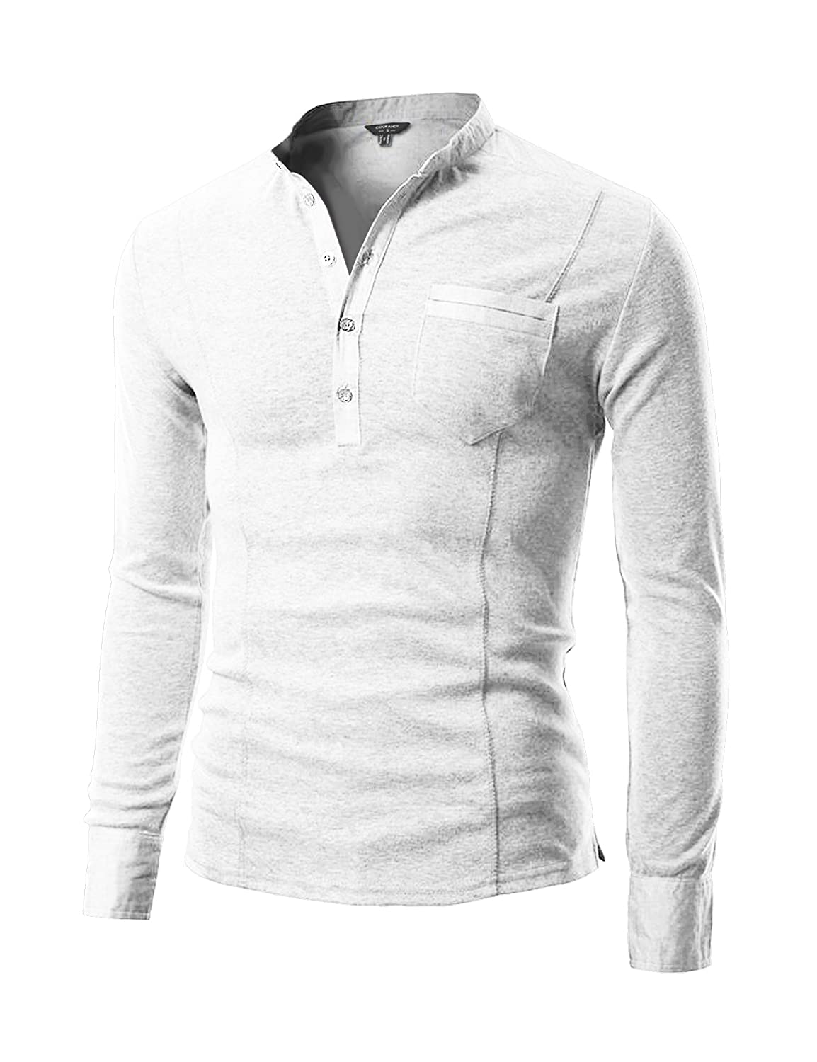 Coofandy Mens Slim Fit Henley Shirt Long Sleeve Casual Cotton T
