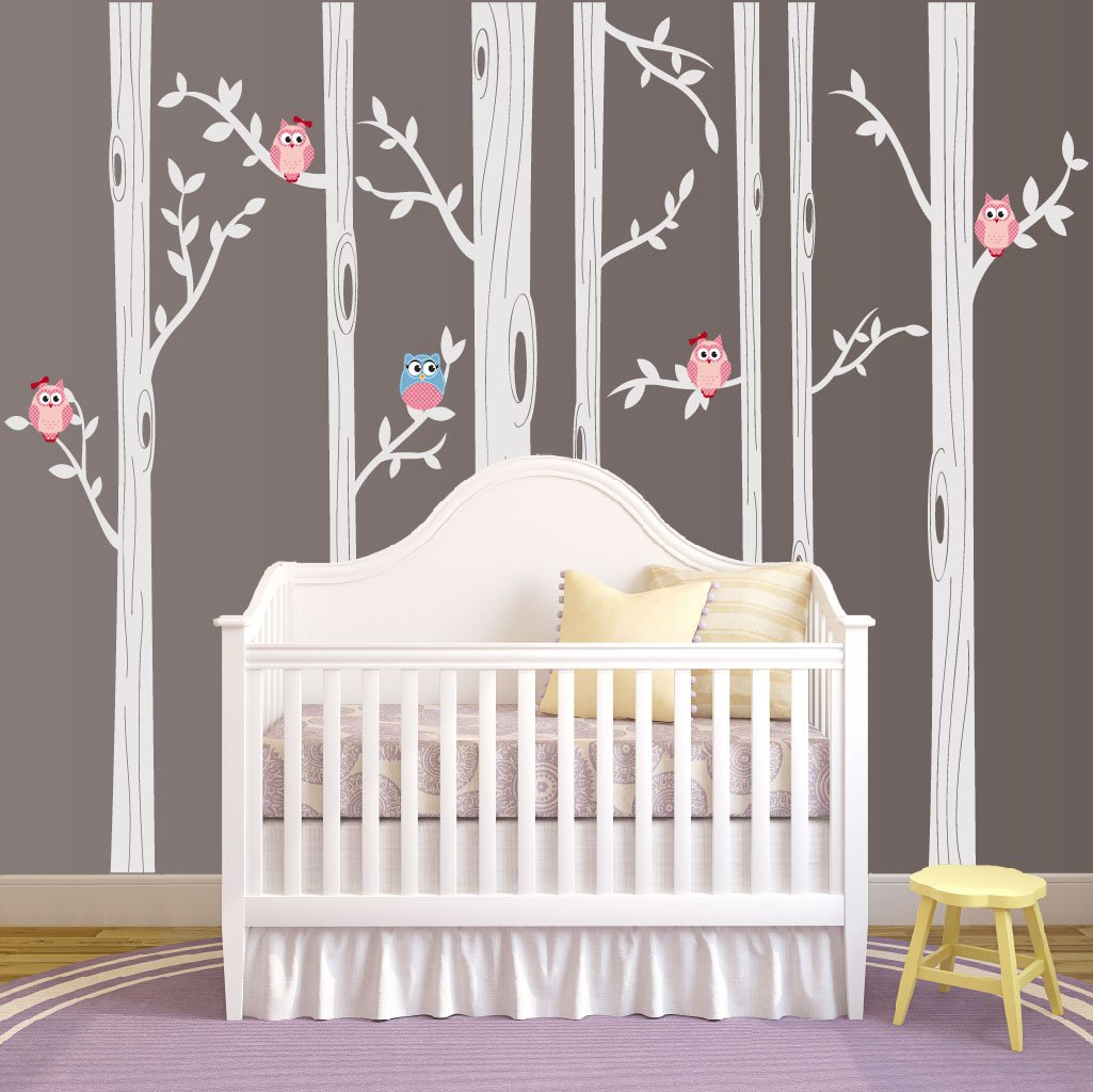 Nursery Birch Tree Wall Decal Set With Owl Birds Forest Vinyl Sticker, Birch Tree Wall Decal, Birch Tree Decal Baby Boy Whimsical Owls (7 trees) #1321 (84'' (7ft) Tall, White Trees, Pink Owls)
