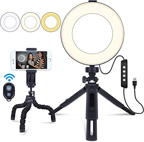LED Ring Light Ring Light Holder Light Stand for Studio LED Video Light Ring Light Compatible Smartphone for Live//Makeup//Self-Timer Photo//Video//Product Pho Color : Orange, Size : One Size