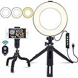 6 tum ringlampa med stativ och mobiltelefonhållare för makeup Live Streaming & YouTube-video, fjärrkontroll…