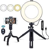 MACTREM 6 tums ringlampa med stativ och mobiltelefonhållare för smink livestreaming och YouTube-video, fjärrkontroll…