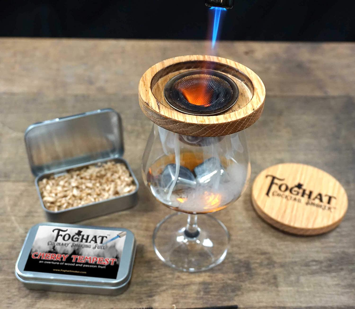 BBQ Foghat Culinary Smoking Fuel Luxury Wood Smoking Chips for Portable Smoker Cherry Tempest Infuse Wine Meats Smoking Gun Glass Cloche or Foghat Cocktail Smoker Cheese Whiskey Salt