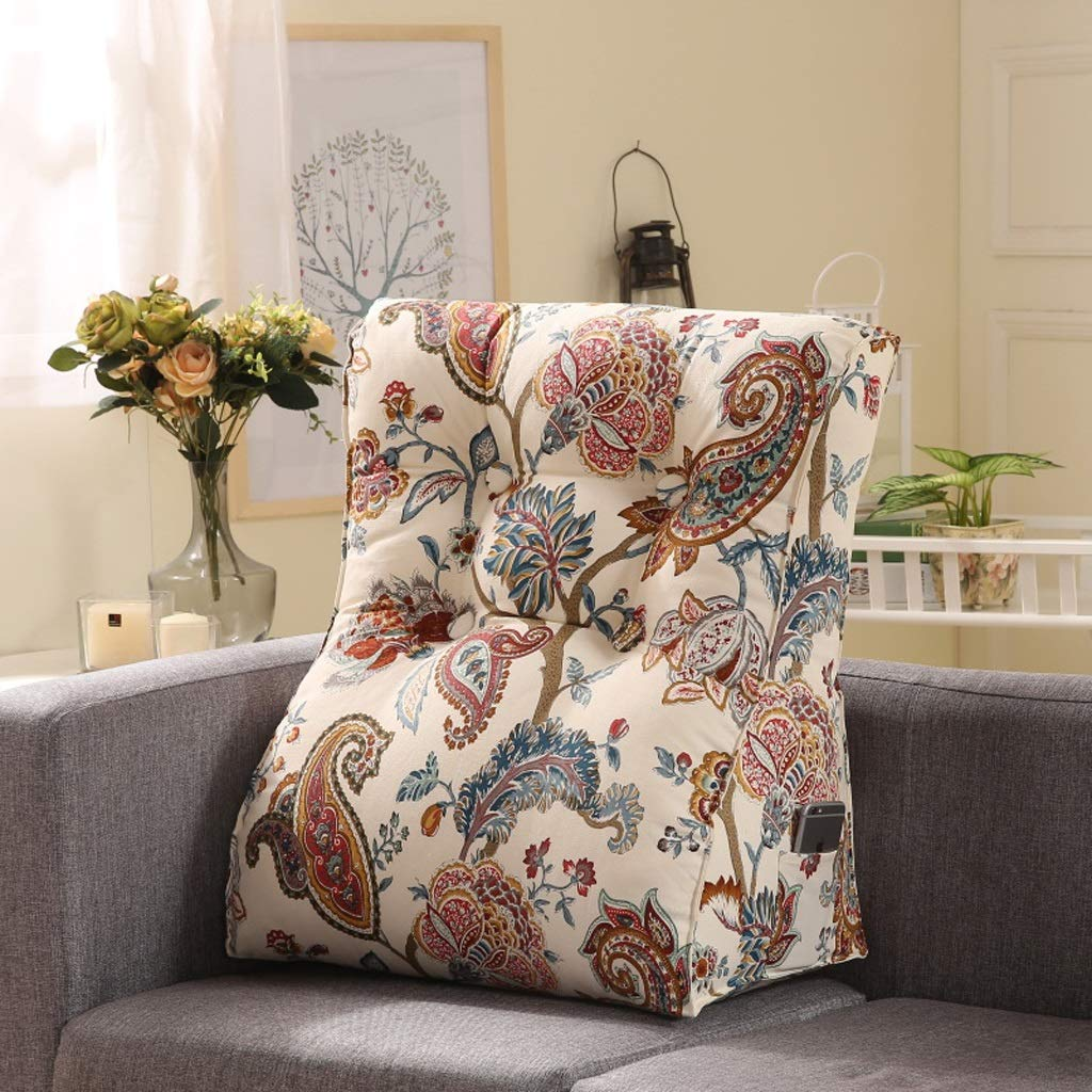 LILISHANGPU Lil Multi-Function Sofa Triangle Cushion, Lathe Head Large Back Bed Cushion/Cotton Canvas Hold Pillow/Removable and Washable (Color : 2, Size : 5560cm)
