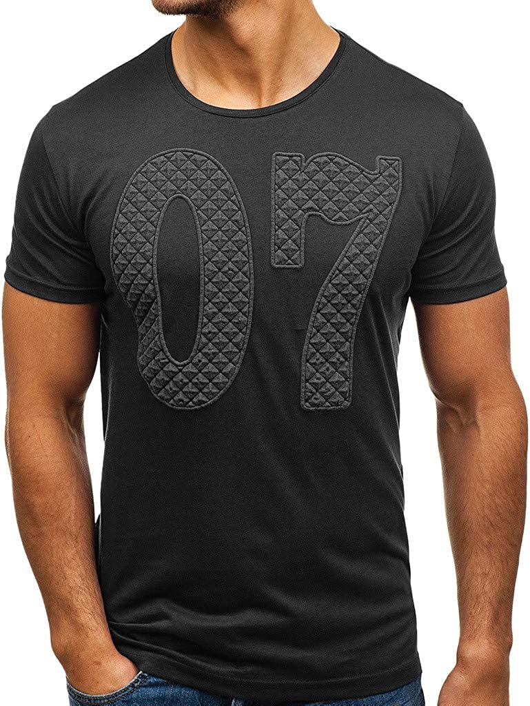 MODOQO Mens T-Shirts,Outdoor Casual Fashion Printed Round Neck Slimd Fit Tops