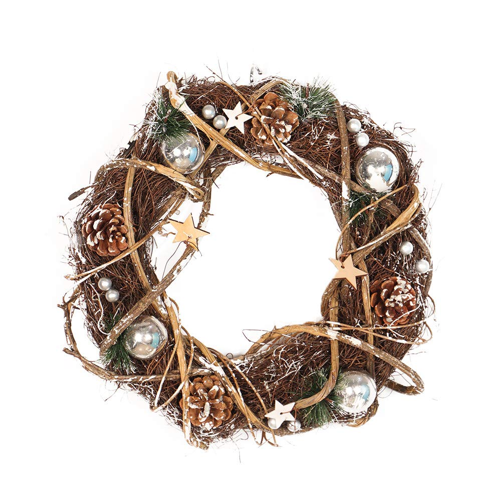 Yezijin Christmas Wreath, Home Wallhaning, Round-Shaped Rattan Wreath Dried Xmas Garland Christmas Home Door Decoration