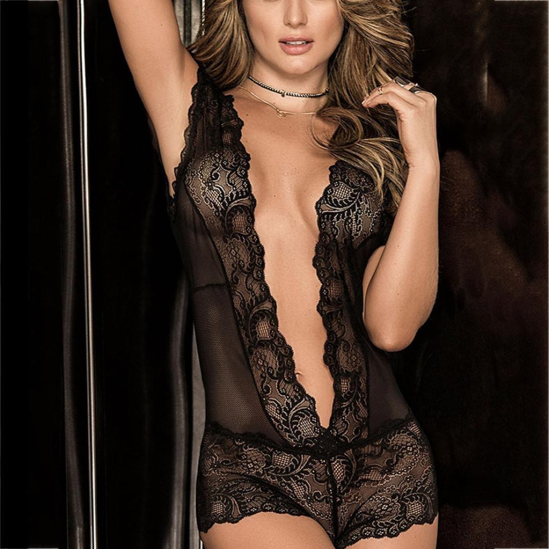 e47ab9ef2e4 Amazon.com  YKA Underwear YKA Fashion Women Sexy Seductive Attractive Lace  Pierced Hollow Out Lingerie Suit  Clothing