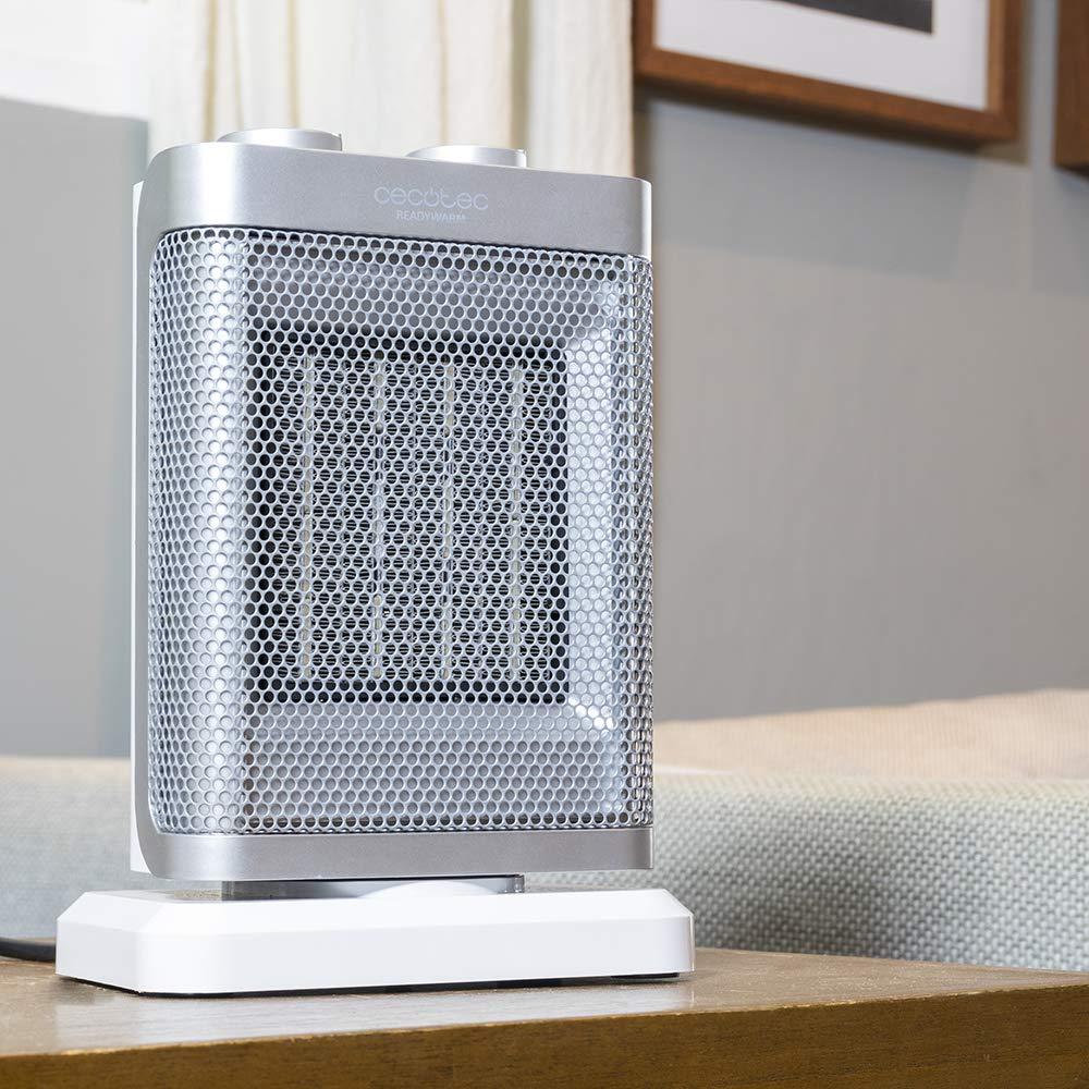 Cecotec Calefactor cerámico con oscilación 1500 W, 3 modos, termostato regulable, sensor antivuelco, protección sobrecalentamiento.