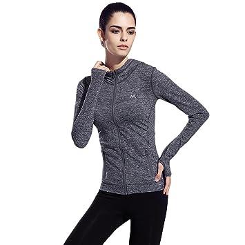 1546341ca4ab SEEU Long Sleeve Running Top Women Full Zip Running Jacket Women Yoga Top  with Zipper Pockets Winter Running Jacket  Amazon.co.uk  Sports   Outdoors