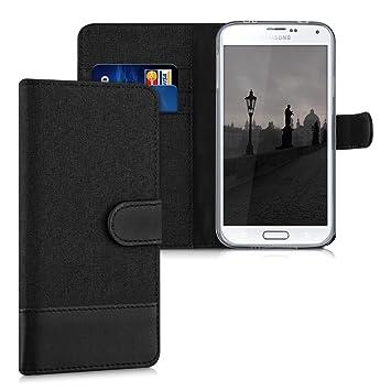 kwmobile Funda para Samsung Galaxy S5 / S5 Neo - Carcasa de Tela y [Cuero sintético] - con Tapa y [Tarjetero] [Antracita/Negro]