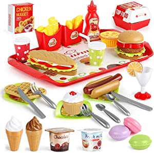 LiDi RC Fast Food Set 59 PCS Kitchen Toy Set for Pretend Play, Kitchen Accessories ,Removable Food Toy, Kids Toddlers Play Food Toys, Party Favor Christmas Stocking Stuffers