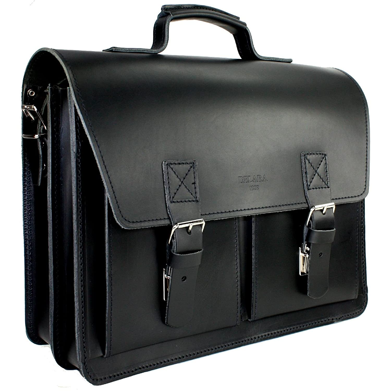 DELARA Aktentasche aus Leder im Bauhaus-Stil mit Schulterriemen und Schulterpolster, Farbe: schwarz - Made in Germany 9812