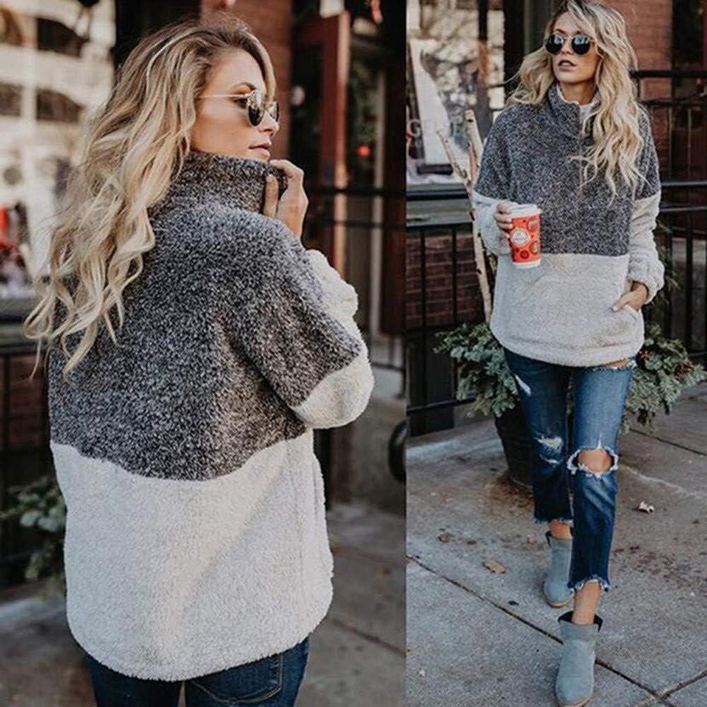 Women Velvet Long Sleeve Zipper Turtleneck Pockets Fleece Tops Sweater Coat