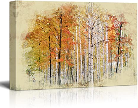 Wall26 Canvas Print Landscape Wall Art Autumn Leaves Of Birch Tree Lined Gallery Wrap Modern Home Art Ready To Hang 24x36 Inches Posters Prints