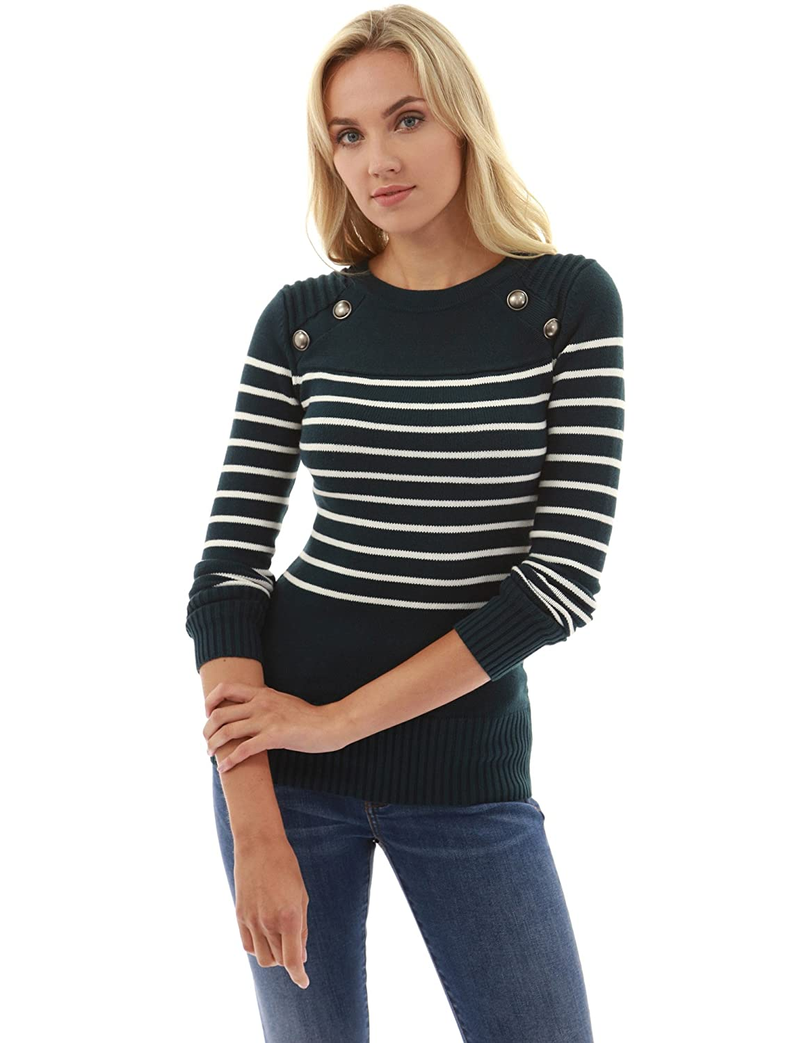 PattyBoutik Womens Crewneck Striped Military Sweater