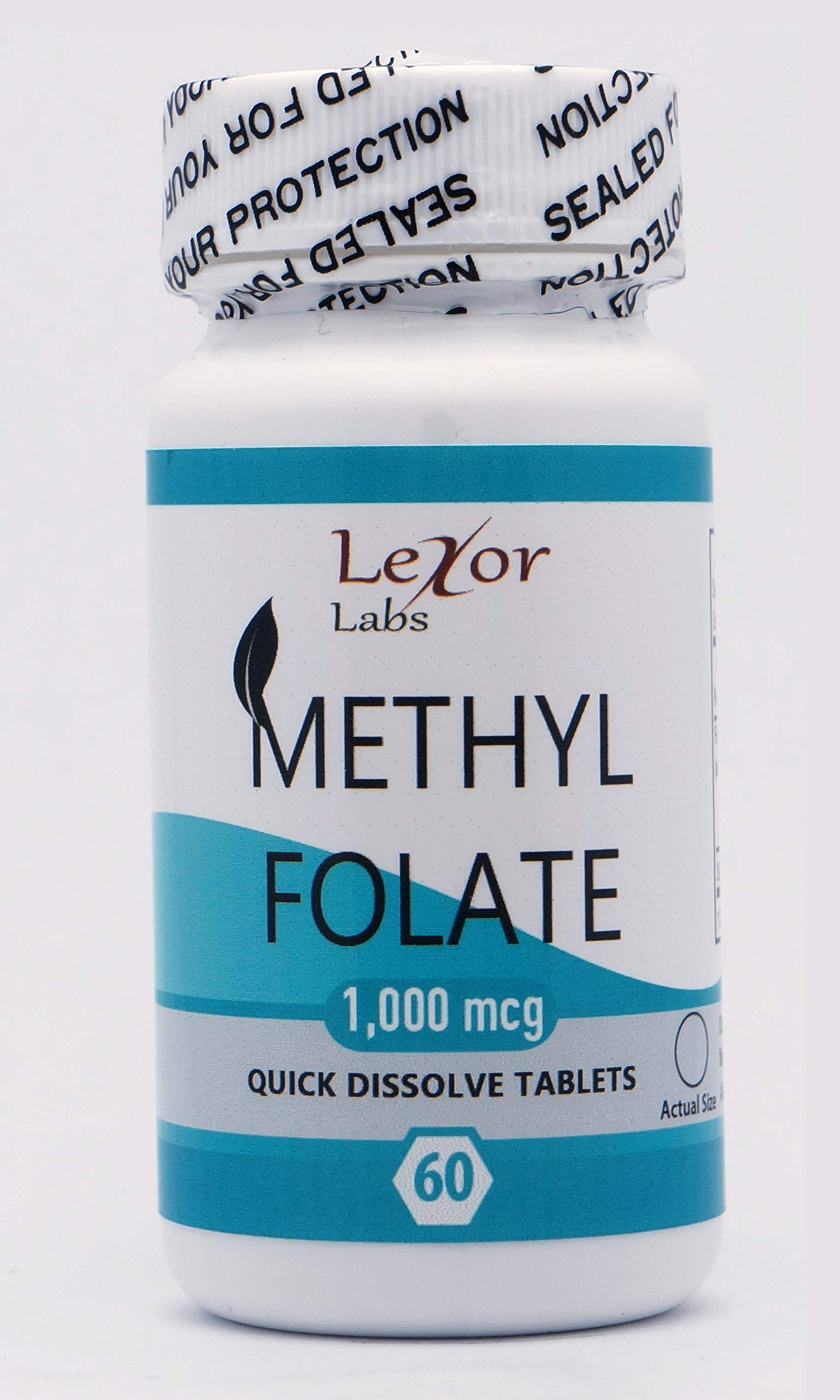 Lexor Labs Methyl Folate (5-MTHF) 1, 000 Mcg Quick Dissolve Tablets - Active Vitamin B9 Folate Supplement, 60Count - for Heart & Nerve Health