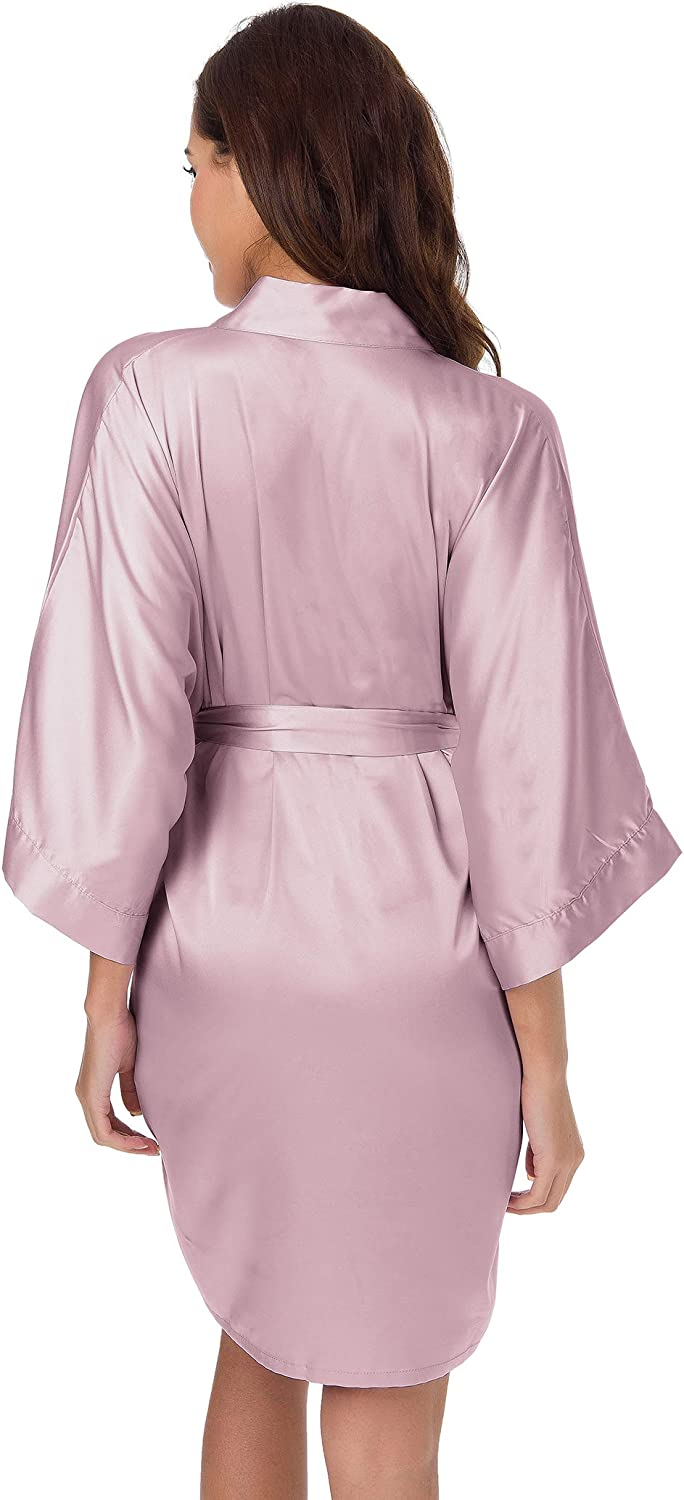 SIORO Womens Satin Robe,Silky Kimono Bathrobe for Bride Bridesmaids,Wedding Party Loungewear Short XS-XXL