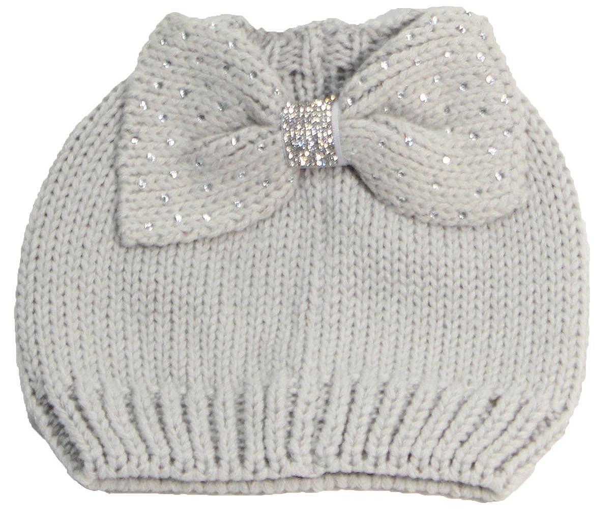 50f434625e2 Best Winter Hats Womens Messy Bun Ponytail Beanie W Jeweled Bow - Light  Gray at Amazon Women s Clothing store