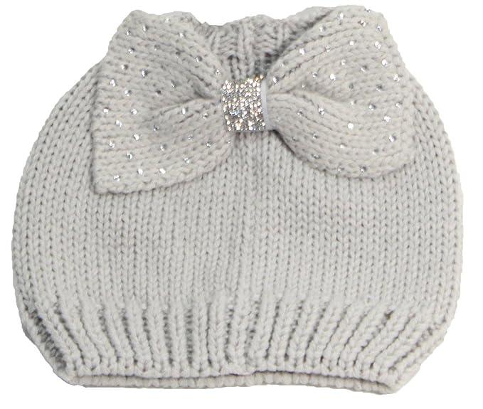463b93da2f5 Best Winter Hats Womens Messy Bun Ponytail Beanie W Jeweled Bow - Light Gray