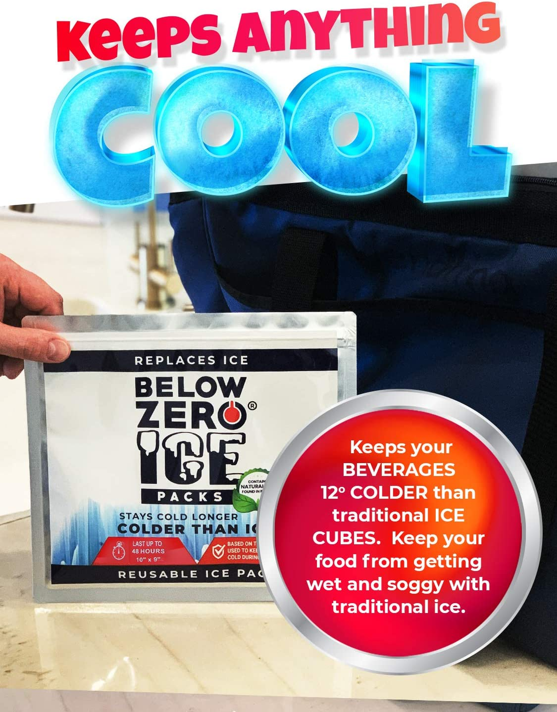 Fits Large and Small Insulated Coolers Lasts Up to 48 Hrs/… Ready to Use Ice Pack for Lunch Box Below Zero Colder Than Ice Freeze Packs No Ice Needed Coolers