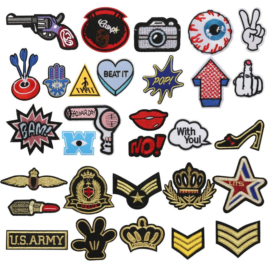 Patch Sticker, Tatuer 30PCS Pegatina de Parche Costura de Apliques ...