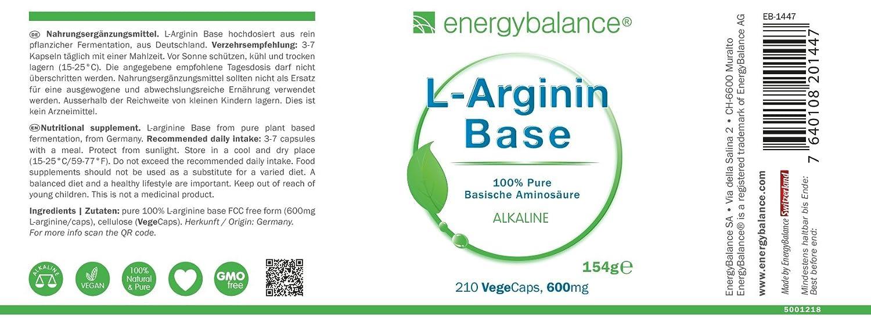Base L-Arginina | Forma libre de aminoácidos | Alta ...