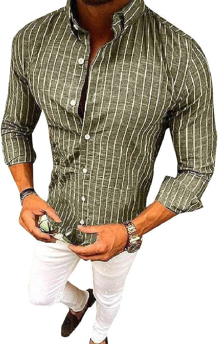 VITryst-Men Regular Button Cardigan Turn Down Collar Long Sleeve Shirt