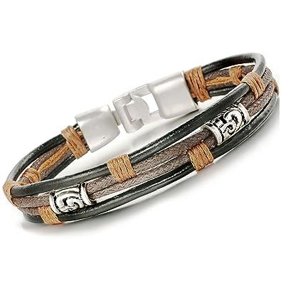grossiste fd373 13eac Bliqniq (cadeau Saint-Valentin) Bracelet en cuir pour homme Bracelet en  acier inoxydable de grande qualité Noir/Argent Longueur : 21 - 22 cm.