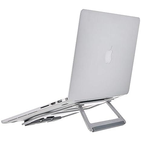 """AmazonBasics – Soporte plegable de aluminio para ordenador portátil de hasta 15"""", Plateado"""
