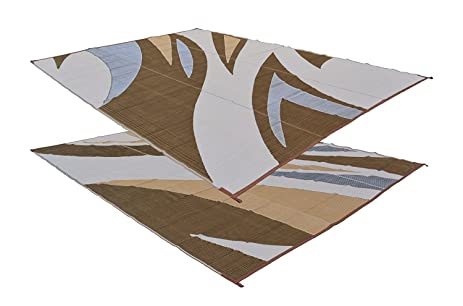 Patio Furniture Rug Brown/Beige Wave Backyard Patio Mat Outdoor Reversible  Rug (9u0027
