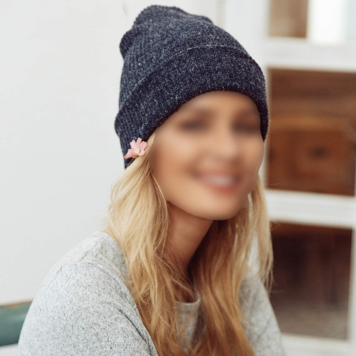 Feisette Knitted Winter Warm Women Beanie Cap Autumn Solid Cotton Blend Ladies fold hat Casual Streetwear Feminino
