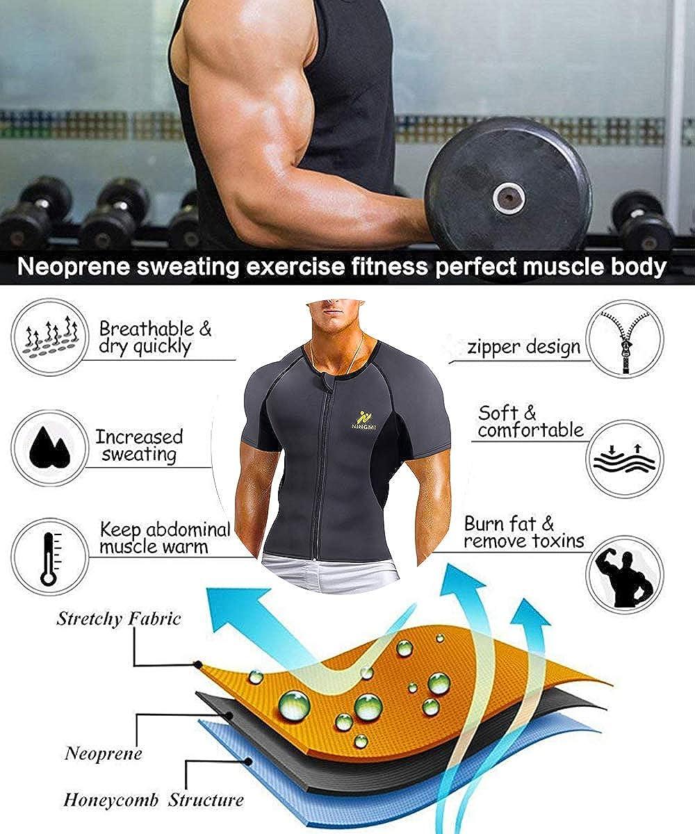 NINGMI Mens Neoprene Workout Top Shirt Sweat Sauna Suit Training Weight Loss Body Shaper Zipper Short Sleeve