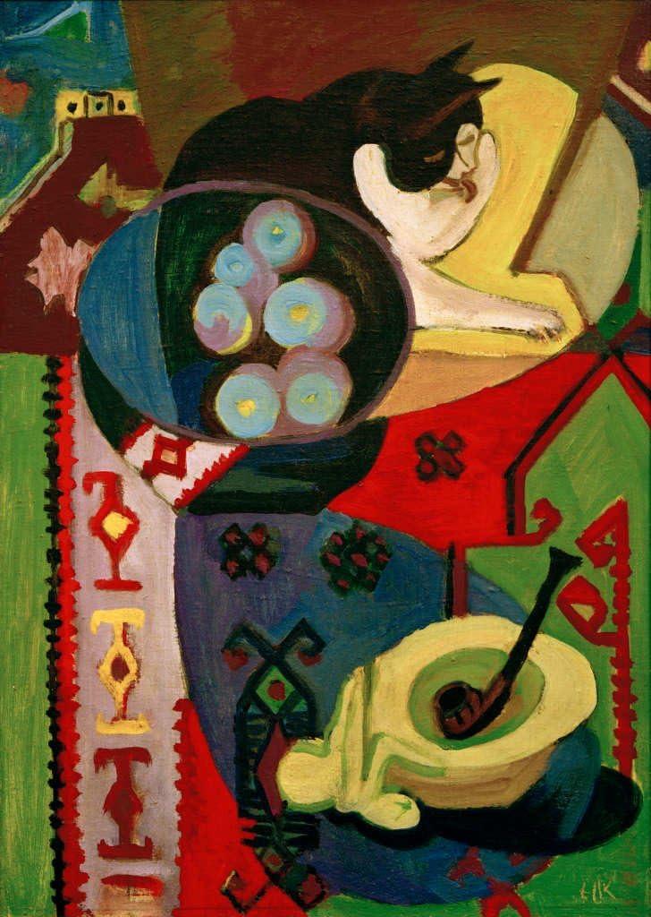 Kunst für Alle Impresión artística/Póster: Ernst-Ludwig Kirchner Still-Life with Cat and Pipe - Impresión, Foto, póster artístico, 60x85 cm