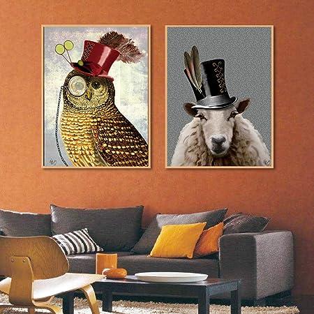 zxddzl Cartel Retro Estilo decoración para el hogar Animal ...