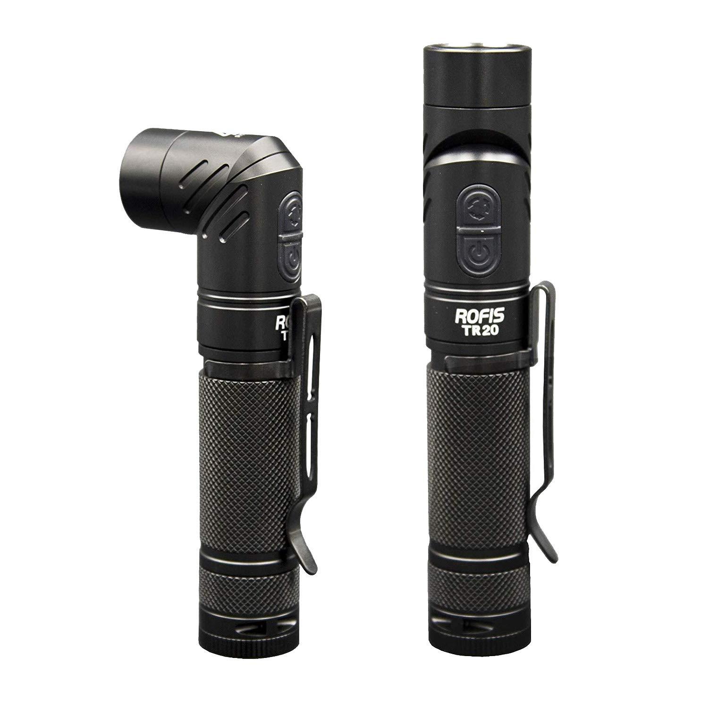 Rofis TR20 Fackel Lampe CREE XP-L HI V3 LED 1100 Lumen USB wiederaufladbare Taschenlampe Magnetische verstellbare Kopf tragbare kompakte taktische LED Licht wasserdichtes Winkellicht mit 18650 3400mAh wiederaufladbare Batterie (Schwarz) ROFIS.Co. Ltd