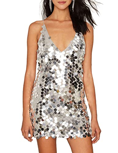 hodoyi Women Sexy Plunge Backless Sequin Bodycon Mini Cami Party Dress