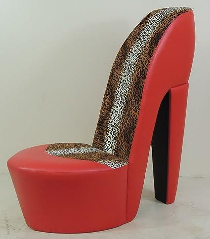 Red Stiletto Shoe High Heel Chair Leopard Print