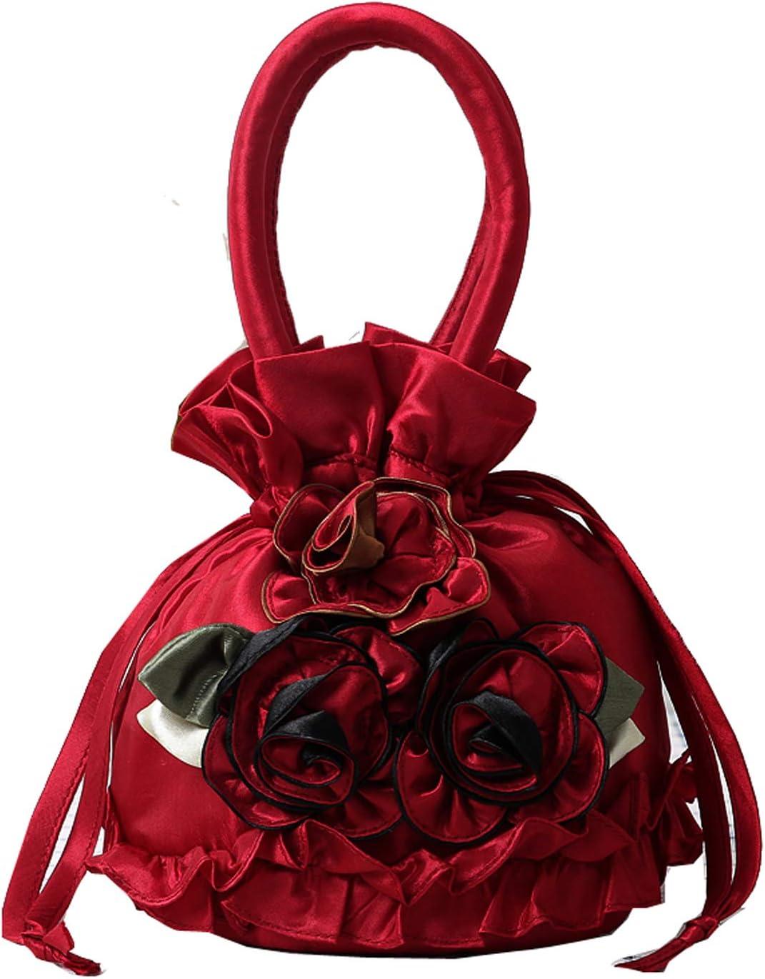 Puyang Womens Vintage Floral Handbag Drawstring Bucket Bag Ladies Polyester Silk Coin Purses Key Bags Cash Money Phone Pouches Black