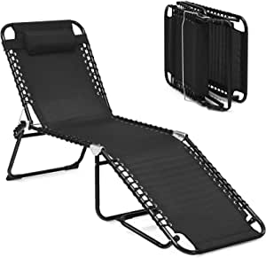 GYMAX Adjustable Chaise Lounge, Folding Lightweight Patio Recliner with Removable Pillow, Poolside Beach Sunbathing Chair for Outdoor/Indoor (Black)
