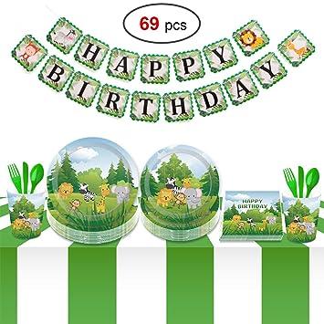 Howaf 69 Piezas Vajilla Desechable Infantil animal Fiesta de cumpleaños, incluir Pancarta,Platos, Vasos, Vajilla, Servilletas para Decoraciones Fiesta ...